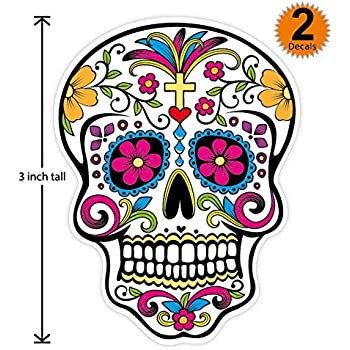 3 inch mexican sugar skull phone sticker version 8 día de los muertos day of the dead sticker decal