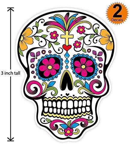 3 inch Mexican Sugar Skull Phone Sticker Version 8 - Día de los muertos - Day of the Dead Sticker Decal