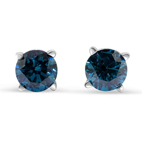 1/2cttw Blue Diamond Round Stud Earrings 14k in White Gold