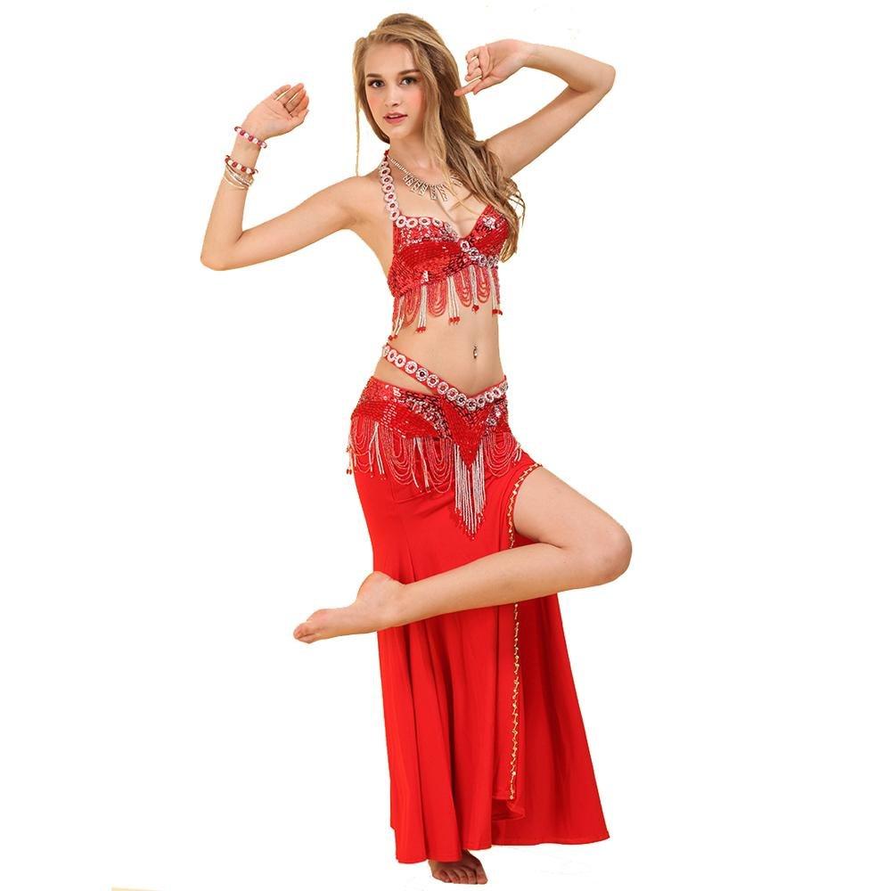 Frau modern Bauchtanz Handmade quaste Pailletten wulstig Professional Performance kostüm Set BH gürtel Rock B0768XHBDV Bekleidung Stilvoll und lustig