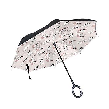 COOSUN Paraguas invertido de Doble Capa con Diseño de Bulldog Francés para Coche y Exterior,