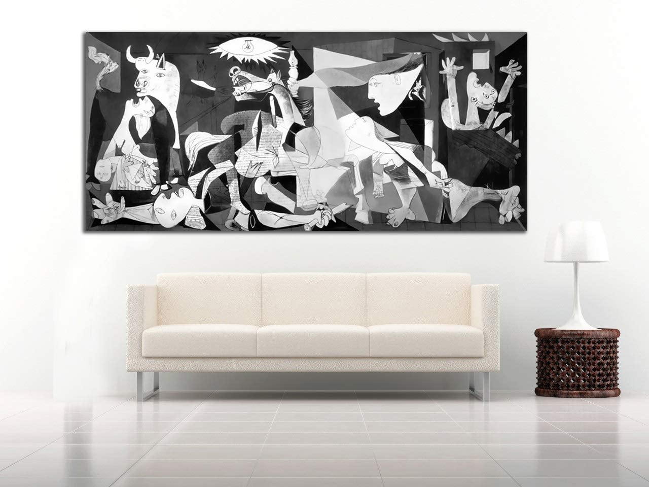 Cuadro Lienzo Guernica Picasso 67x150 cm- Lienzo de Tela Bastidor de Madera de 3 cm - Fabricado en España - Varias Medidas - Impresión en Alta resolución