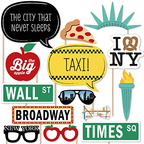 Big Dot of Happiness New York - Photo Booth Props Kit - 20 Count -