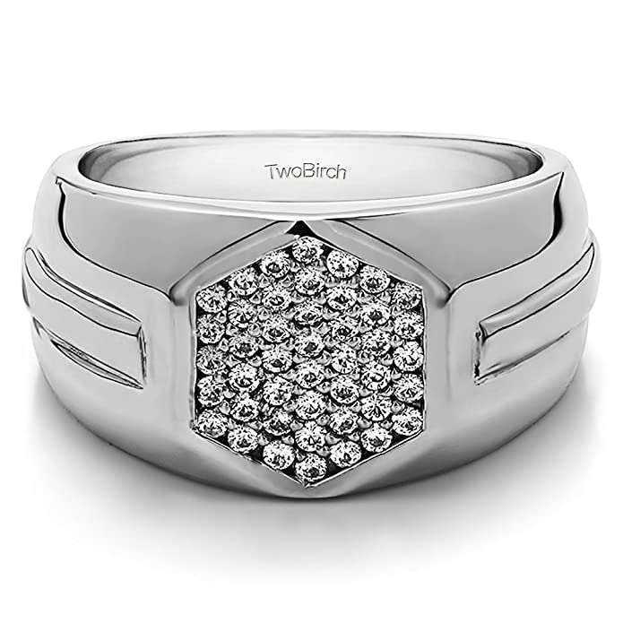 0.5Ct Yellow Plated Sterling Silver Mens Wedding Band White Sapphire Size 3 To 15 in 1//4 Size Intervals