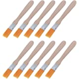 7haofang 10Pcs Wooden Handle Brush Nylon Bristles Welding Cleaning Tools for Solder Flux Paste Residue Keyboard PC