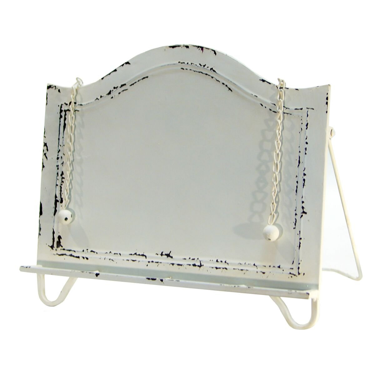 Antique White Distressed Metal Cookbook Holder with Weighted Chains, Cook Book Display Stand