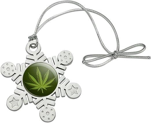 amazon com graphics more marijuana leaf design cannabis pot metal snowflake christmas tree holiday ornament home kitchen amazon com