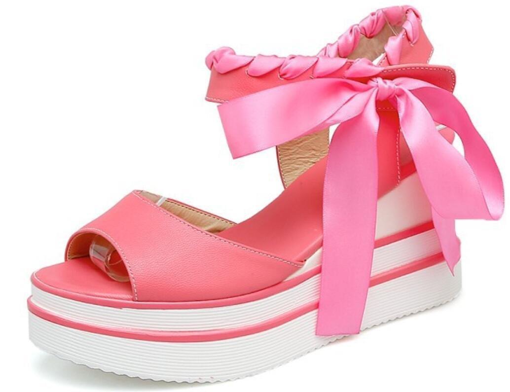 NVLXIE Sandali delle signore Summer Sweet Pu Tavolo impermeabile High High High Poe Cinghia di caviglia Shopping 8cm, pink, 35 pink acbe8d
