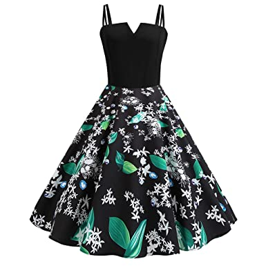 90edd29629fd Women's Sexy Plus Size Vintage Dresses Retro Audrey Hepburn 1950s Floral  Print Strappy Sleeveless Rockabilly Swing
