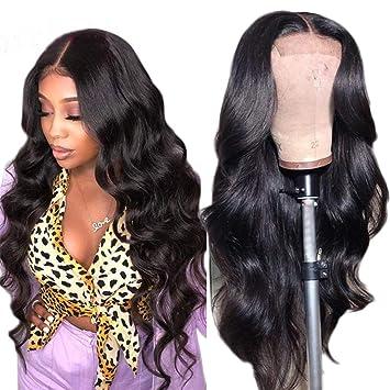 Maxine Hair - Peluca de cabello virgen brasileño, 180% de densidad, ondulado, calidad 9A, pelo humano con «baby hair» para mujeres negras con correas ...