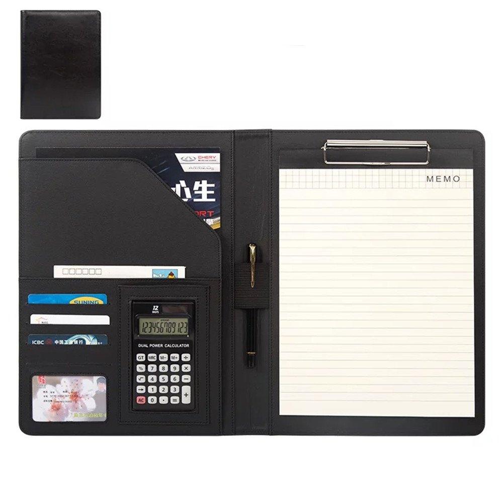 B/üro Organizer Taschenrechner Portfolio Konferenz Halter Datei Ordner A4/Konferenz Business PU Leder Dokument Tasche Klemmbrett Padfolio mit Innentasche und Papier schwarz