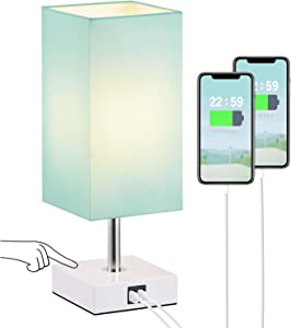 Touch Control Dimmable Table Lamp,Teal Aqua LED Bedside Nightstand Lamp with 2 USB Fast Charging Ports,3 Way Dimmable Modern Green Desk Lamp for Bedroom Living Room Office Reading(Bulb Included)