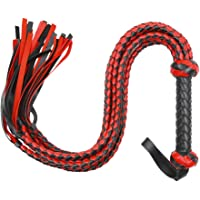 POPETPOP Heavy Duty Leather Whip for Equestrian Whip,Leather Bull Whip for Horse Riding Sports Horse Whip, Riding Crop Whip for Horse Training (Red and Black)