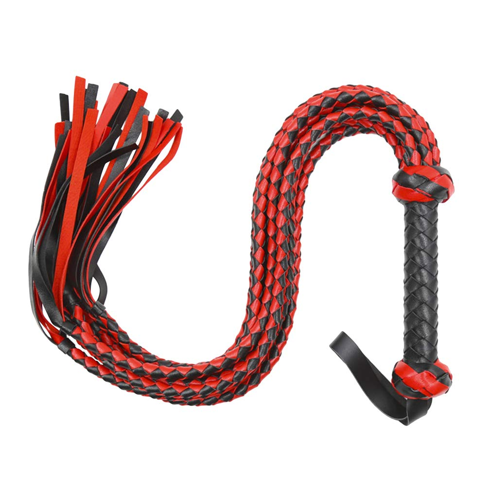 UKCOCOHeavy Duty Leather for Horse Riding Horse Whip Riding Crop Jump Bat for Horse Training (Red and Black)