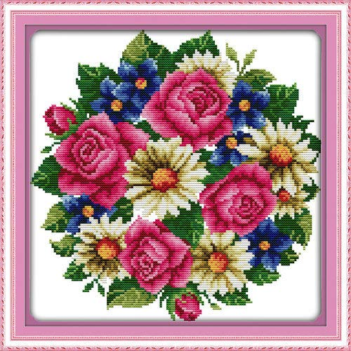 "Joy Sunday Cross Stitch Kits,Flower Style,All Flowers Bloom Together-Rose,14CT Stamped, 31cm×31cm or 12.09""×12.09"""