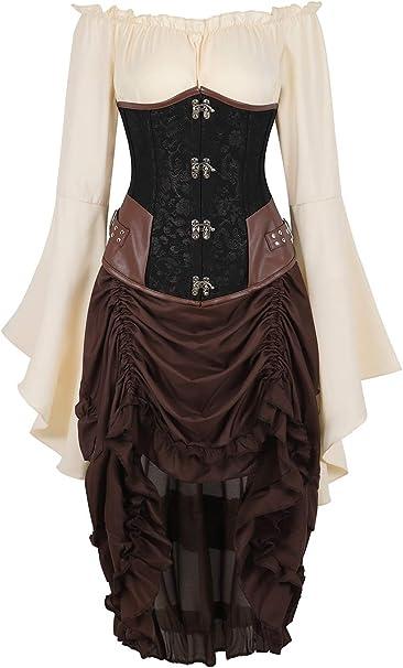 Rosfajiama Disfraces Mujer Carnaval Medieval Corset Steampunk ...