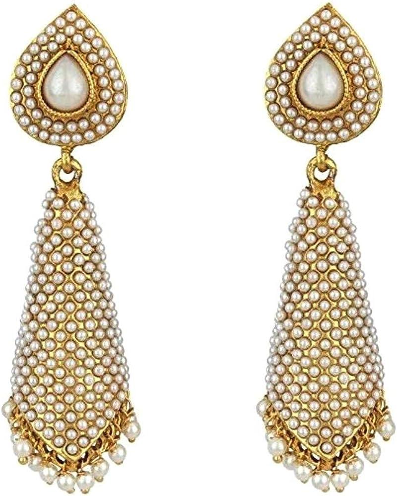 INDIAN ANTIQUE BIG LONG GOLD TONE FANCY DANGLE EARRINGS ETHNIC JHUMKA JHUMKI