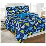 Golden Linens Reversible 6 Pieces Twin Size Printed Lime Green, Blue, Navy Blue and grey Shark Microfiber Kids Bed In Bag Bedding Comforter with sheets and pillow cases