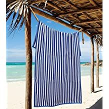 "Northpoint Sleep Master Jacqaurd Velour Hotel Cabana Stripe Beach Towel, 30 by 60"", Dark Blue"