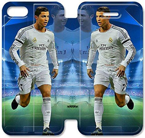 Flip étui en cuir PU Stand pour Coque iPhone 5 5S, bricolage 5 5S étui de téléphone cellulaire Cristiano Ronaldo Ligue des Champions Q7C3GT Coque iPhone étui en cuir personnalisé Durable