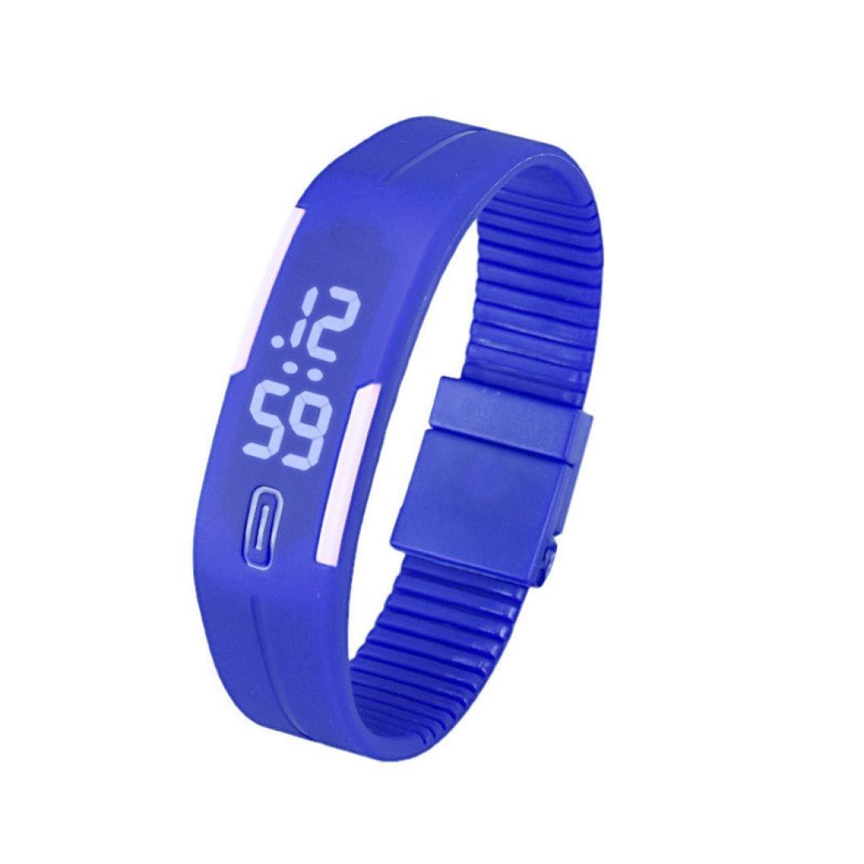 Hemlock Rubber Silicone Sport LED Digital Watches Ultra Thin Bracelet Wrist Watch Blue