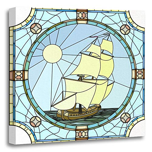 Emvency Painting Canvas Print Artwork Decorative Print Mosaic with Large Cells of Sailing Ships The 17Th Century in Round Stained Wooden Frame 20x20 inches Wall Art for Home Decor -
