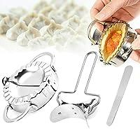 RoseFlower 3pcs Stainless Steel Ravioli Dumplings Rapid Making Tool Set Including 1 Big Dumpling Mould,(Diameter:9.5), 1…