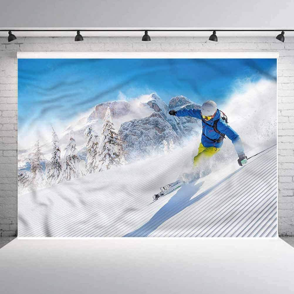 5x5FT Vinyl Photography Backdrop,Winter,Skiing Extreme Sports Photoshoot Props Photo Background Studio Prop