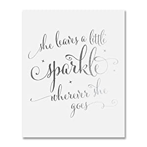 She Leaves A Little Sparkle Wherever She Goes Silver Foil Decor Home Wall Art Print Inspirational Quote Metallic Poster 5 inches x 7 inches