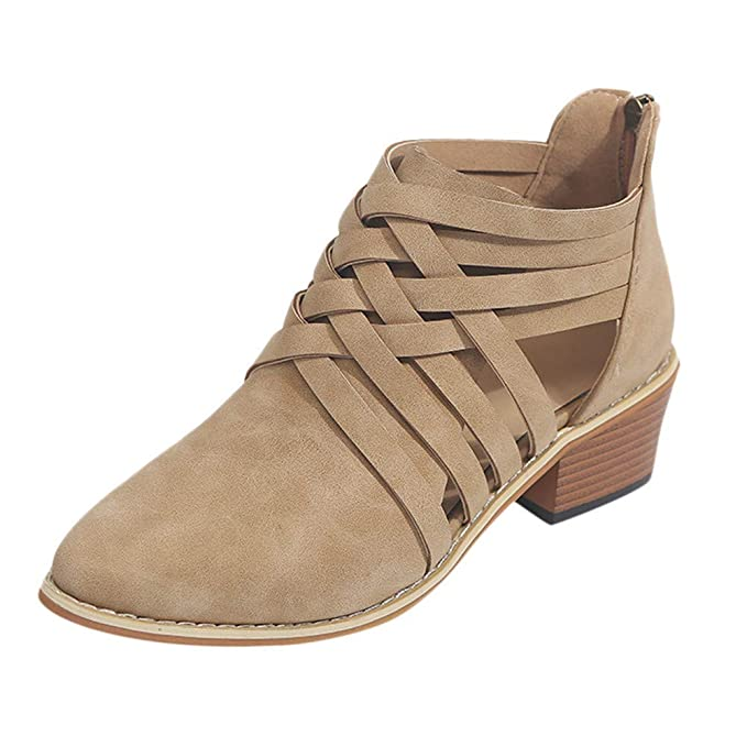 Mujer Hollow Fuera Zapatos Ronda La Plataforma Talon Plano Antideslizante en Calzado Casual Zapatos Mujer Otoño Invierno 2018 Botas de Plataforma Zapatos de ...