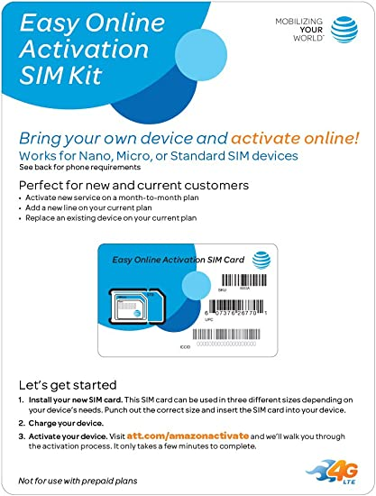 Amazon Com At T Easy Online Activation Sim Kit Postpaid