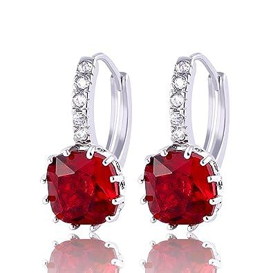 e6ee56583 GULICX 925 Sterling Silver Red Huggie Hoop Earrings Garnet Color Princess  Cut Square Stone Zircon: Amazon.co.uk: Jewellery
