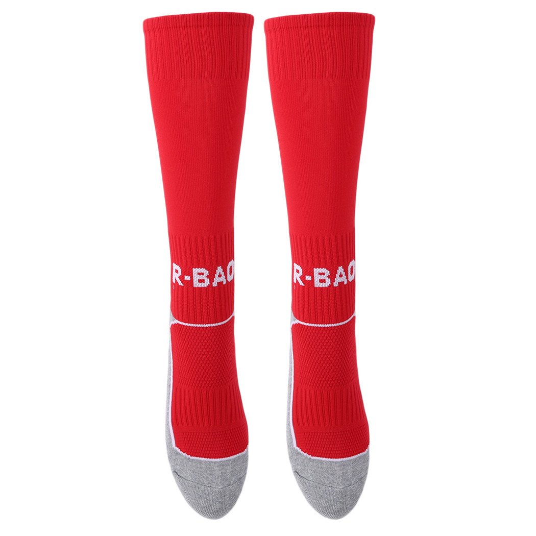 LnLyin Unisex Knee High Sports Football/Soccer/Hockey Tube Socks for Children 8-13 Years Old, Red
