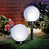 Cheap 4-Pack 5.9″x5.9″ Solar Stake Globe Bright White LED Garden Ball Light Black Base