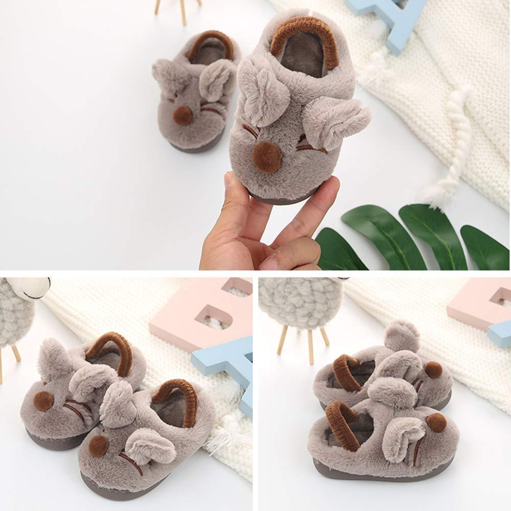 Toddler Mouse Slippers Girls Boys Cute Cartoon Fleece Elastic Band XZ-MU905