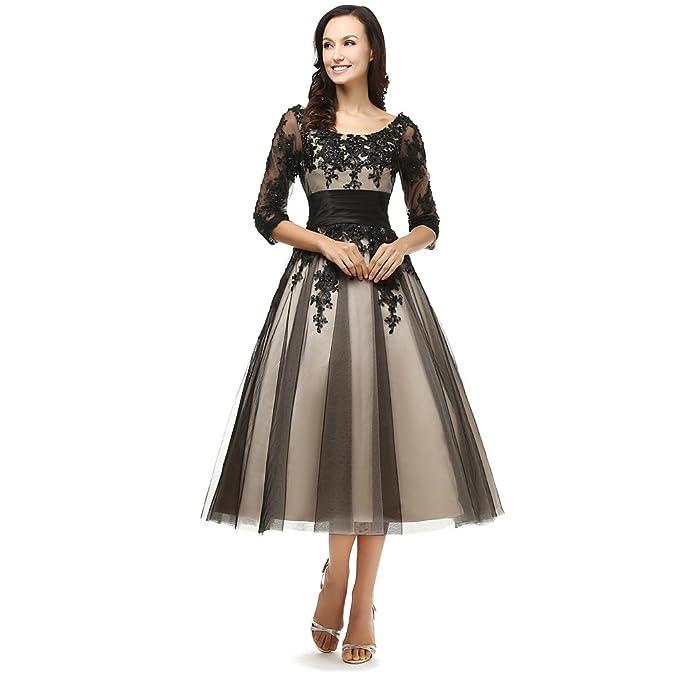 Kivary Women\'s Sheer Vintage 1/2 Half Sleeves Short Champagne and ...