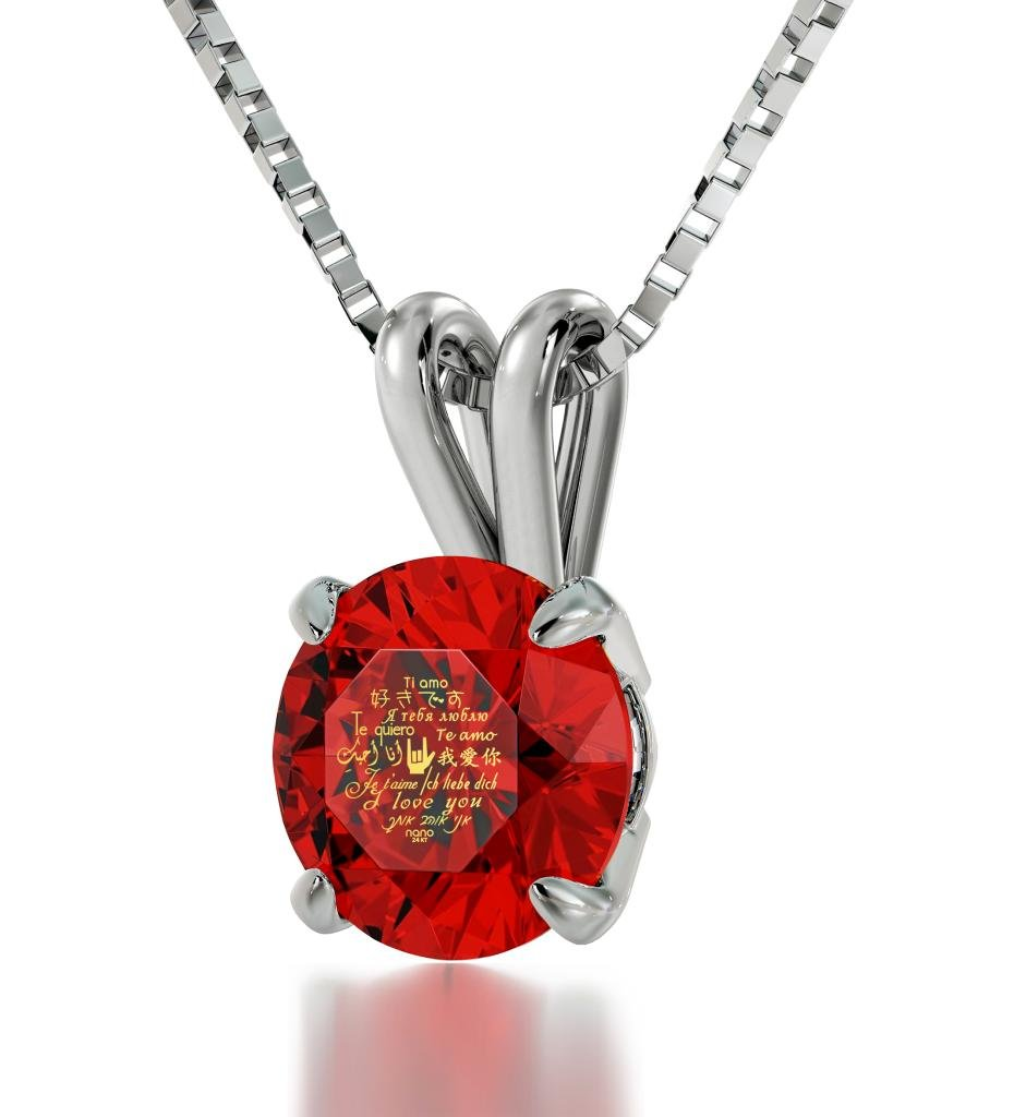 925 Sterling Silver I Love You Necklace Solitaire Pendant 24k Gold Inscribed on Red Crystal, 18'' Chain