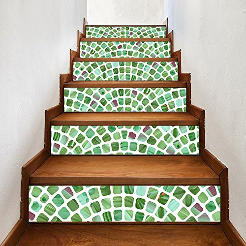N.SunForest Stair Sticker 3D Staircase Decals Green Apple Glass Mosaic Tile Removable Waterproof Mural Wallpaper Home Decoration Peel & Stick - 39.4