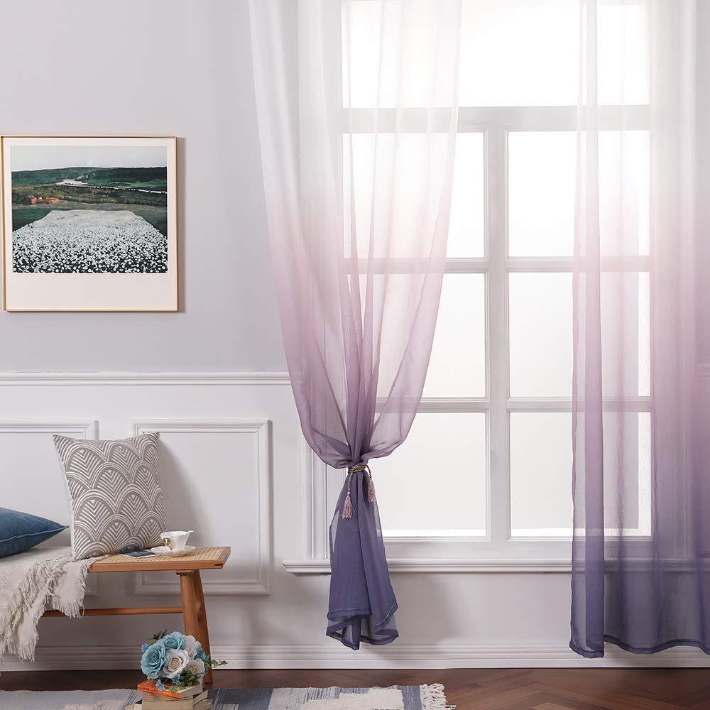 MIULEE Cortina Transl/úcida Visillo Gradiente Color Degradado Dos Paneles de Ojales Plateados Gasa para Ventanas Habitacion Dormitorio Cocina Sala de Estar 140x225cm Gradiente Vertical Gris