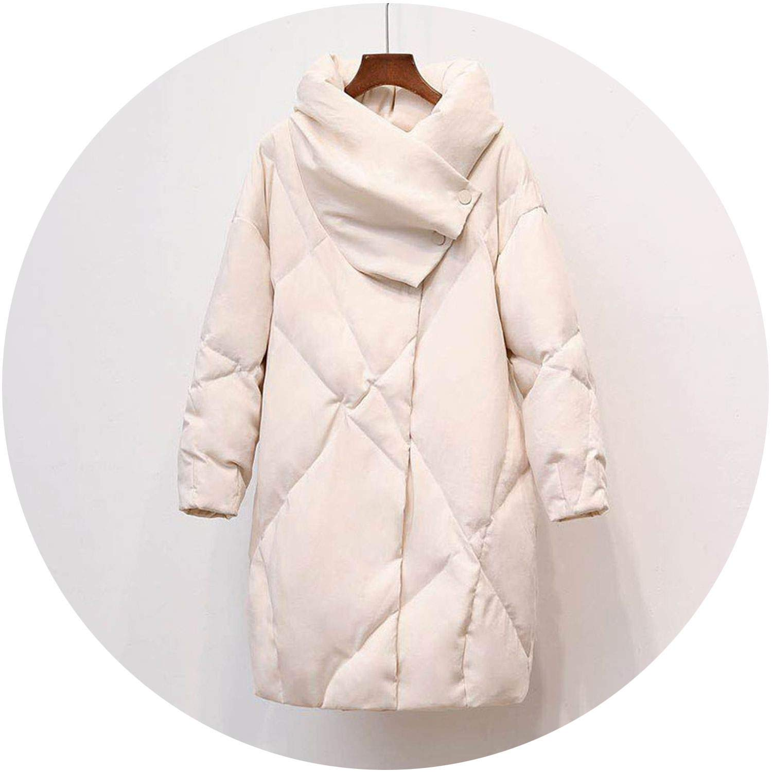 Beige Talk about heaven Duck Down Coat Women Winter Clothing 2018 Female Jacket Knee Length Vintage Down Jacket