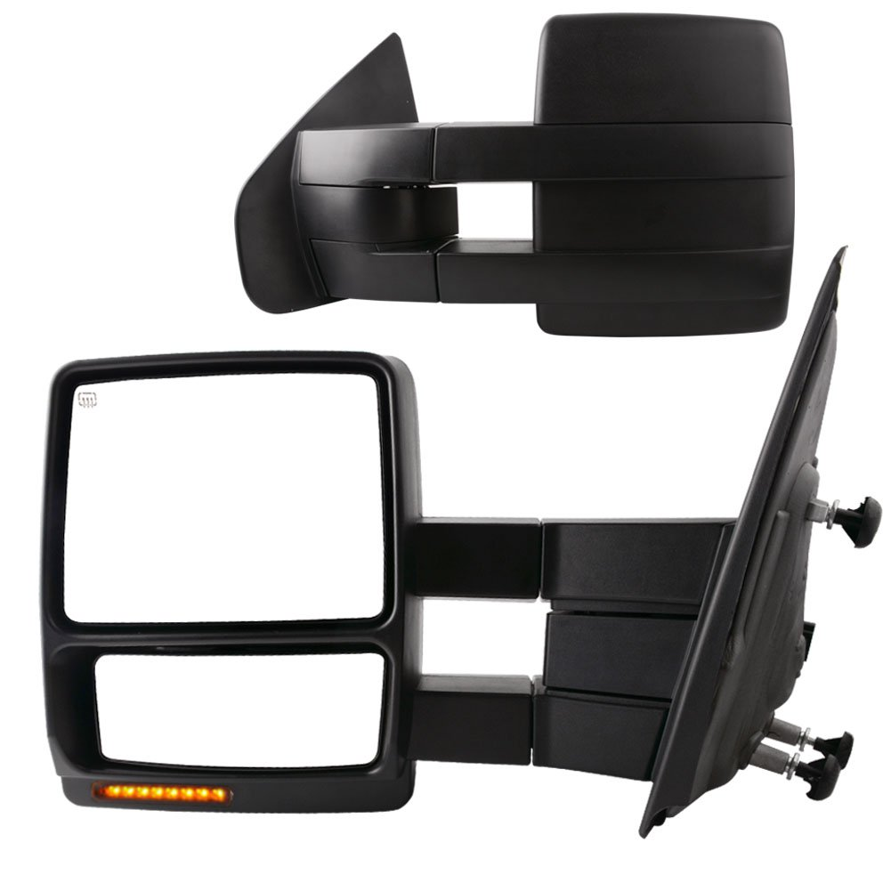 YITAMOTOR Towing Mirrors for 99-07 Ford F250/F350/F450/F550 Super Duty, 01-05 Excursion Pair Set Extendable Smoke Power Heated with LED Signal Light Side Mirrors MR-014-xS1y