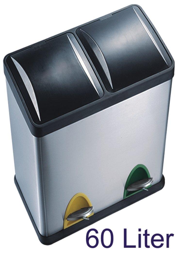 Hervorragend 60 Liter Edelstahl-Tretabfalleimer, 2 x 30 Liter Mülltrennung  UZ42