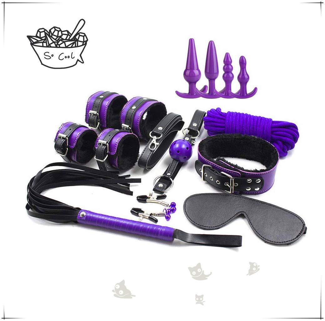 Kits de yoga de correa púrpura de 7 piezas premium con juguete de silicona médica de 4 piezas