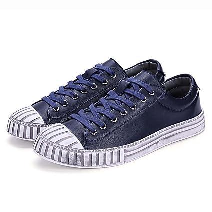 ZXCV Zapatos al aire libre Zapatos casuales hombres zapatos hechos a mano, pisos de estilo clásico de cordones planos Cap Toe Zapatos casuales ( Color : Rojo , Tamaño : 40 )