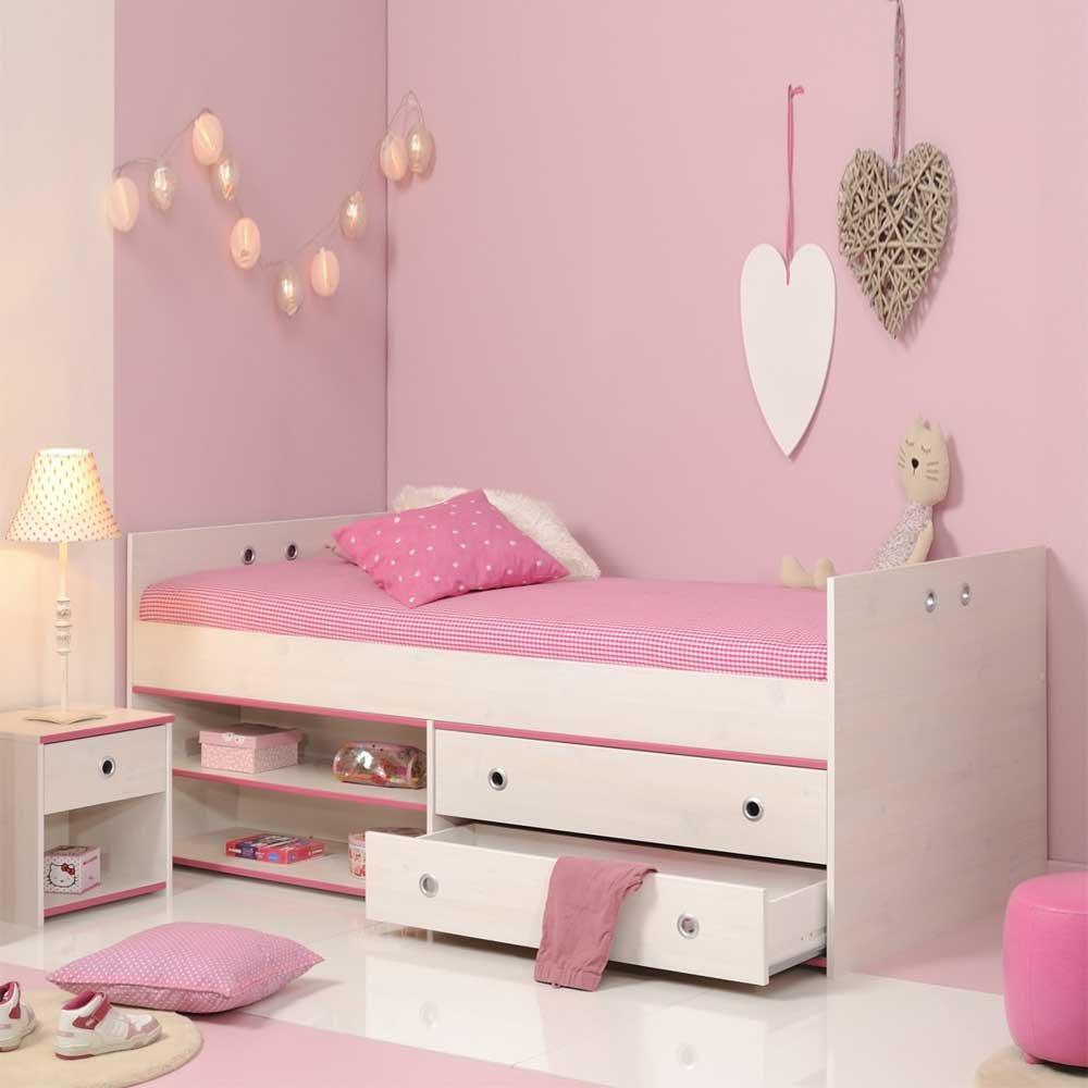 Pharao24 Kinderbett mit Schubladen Weiß Pink Blau
