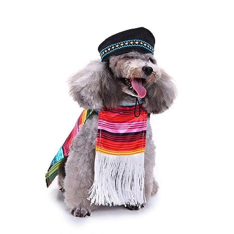 Ropa para Mascotas Invierno Abrigo Chaqueta Gusspower Juego de Ropa para Perros con Flecos, Sombrero