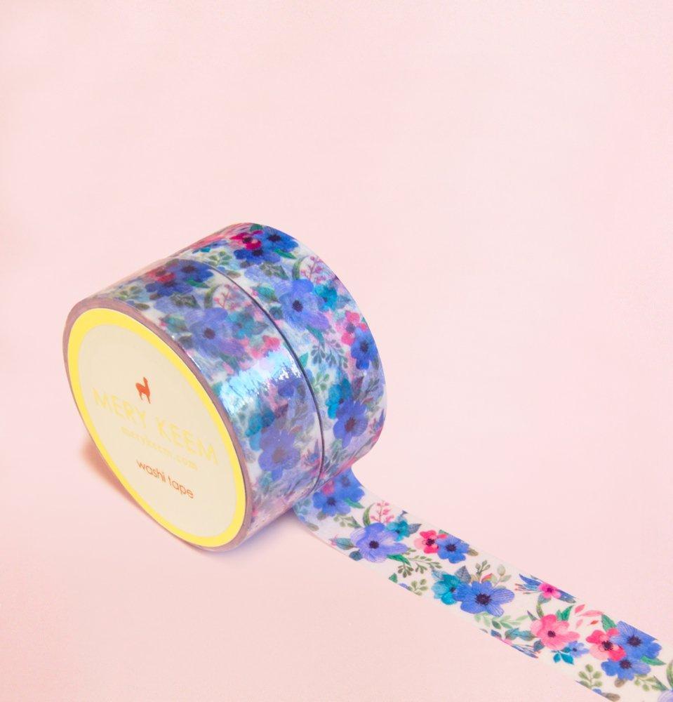 Flores Azules Vintage de Verano Washi Tape para Diarios y Planificadores • Scrapbooking • Artesanias • Oficina • Artículos de Fiesta • Envoltorios de Regalo • Ideal para Manualidades • Cinta Adhesivas Decorativa • DYI