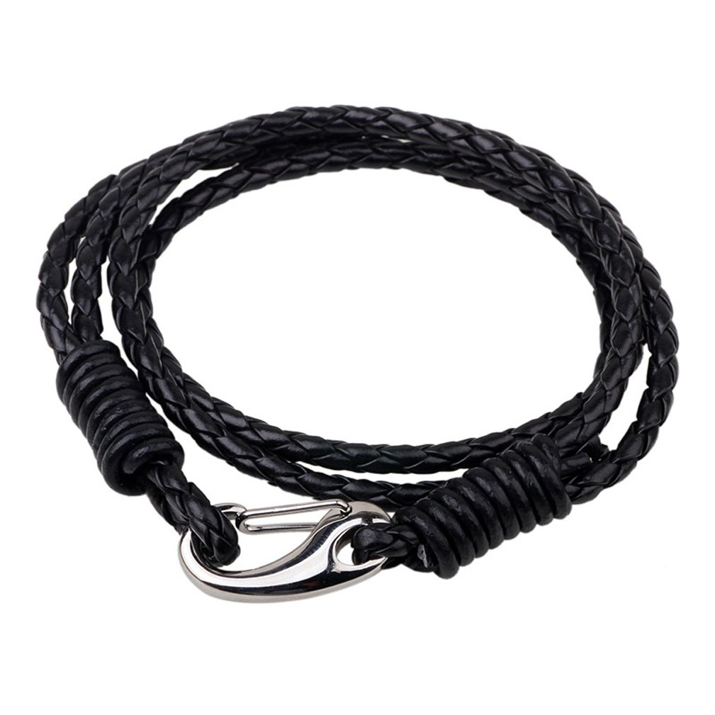 4EAELove Genuine Leather Bracelet Braided Wrap Bangle Vintage 4-Strand Stainless Steel Lobster Clasp Durable Handmade