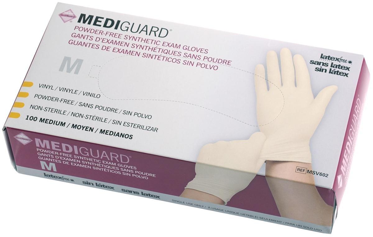 Medline 6MSV602 MediGuard Synthetic Exam Gloves, Vinyl, Latex Free, 9'' Length, Medium, Clear (Pack of 1000) by Medline