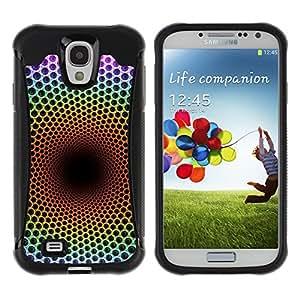 KROKK CASE Samsung Galaxy S4 I9500 - trippy abstract net speaker soul deep - Funda Carcasa Bumper con Absorción de Impactos y Anti-Arañazos Espalda Slim Rugged Armor